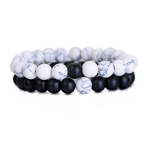 2Pcs/Set Couples Classic Natural Black and White Beaded Stone Bracelet