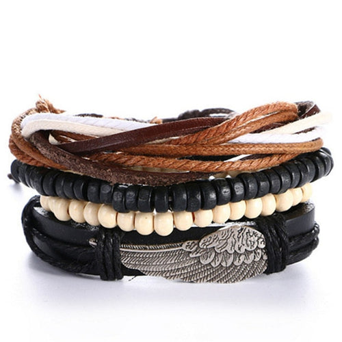 4pcs/set Handmade Vintage Wooden Beaded, Black Leather Bracelet w/ Wing Charm