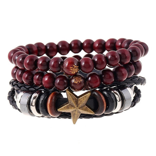 4pcs/set Handmade Vintage Wooden Beaded Bracelet w/ Star Charm