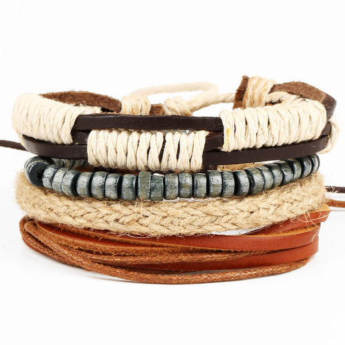 4pcs/set Handmade Vintage Roped and Leather Bracelet