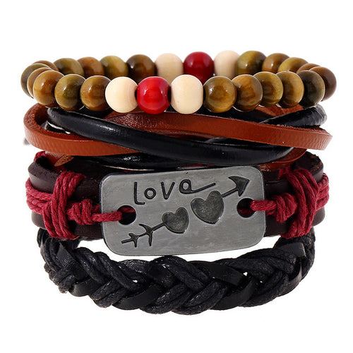 4pcs/set Handmade Vintage Leather and Beaded Bracelet w/ Love Charm