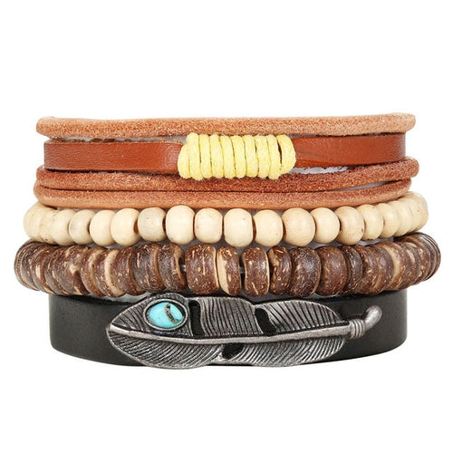 4pcs/set Handmade Vintage Wooden Beaded  Bracelet w/ Leaf Charm