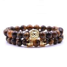 Load image into Gallery viewer, Gold Lion King Beaded Bracelet Set