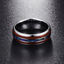 Load image into Gallery viewer, Polished Matte Abalone Shell Tungsten Ring
