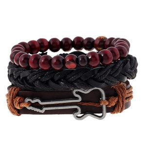 4pcs/set Handmade Vintage Wooden Beaded and Black Leather Bracelet w/ Guitar