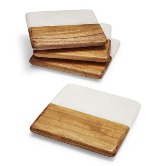 Acacia Wood and Marble Coasters