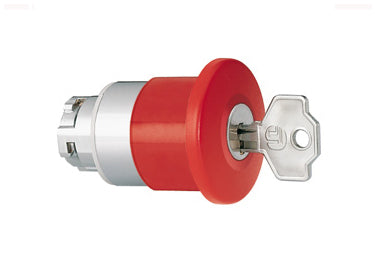 Lovato Electric: Mushroom Head Pushbutton Actuators, Latch, Turn Key to Release - 8LM2TB6544G506