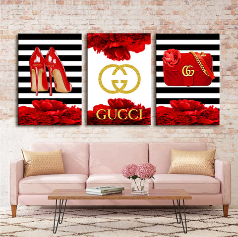 Fashion wall art, Fashion 3 set print, Painting on canvas, Fashion print - Allure Fashion Store