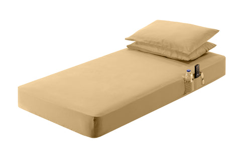 "54""x80""x7.5""  Beige Sheet Set"