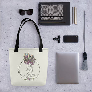 Hand-drawn art with woman power message by varanda.store in a tote bag