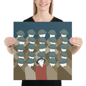 Women holding the Special Soldier art print by Varanda Design - Size 18x18 (In) at varanda.store