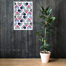 Load image into Gallery viewer, Poster watercolor hearts hanging on a wooden wall - poster size 24x36in