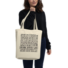 Load image into Gallery viewer, Woman holding eco tote bag female empowerment message - VARANDA DESIGN