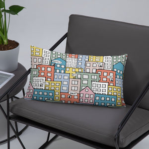 Pillow wishes in the city 20x12(In) on the sofa