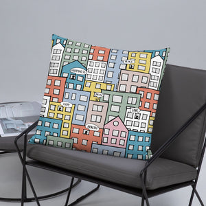 Pillow wishes in the city 22x22(In) on the sofa