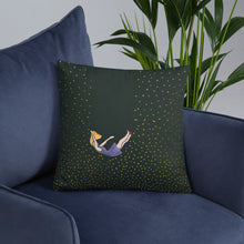 Load image into Gallery viewer, Pillow let me fall size 18x18in on a sofa