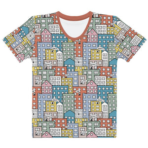 Ladies' short sleeve t-shirt wishes in the city by Varanda Design-front