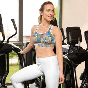 Woman at the gym wearing the sports bra by Varanda Design