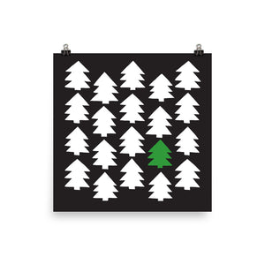 Christmas 365 art by Varanda Design - hand-drawn pine trees poster