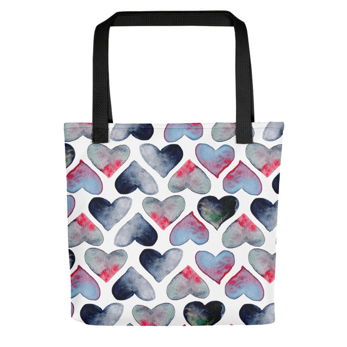 Tote bag watercolor hearts by Varanda Design - front
