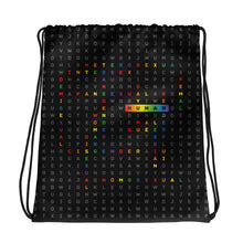 Load image into Gallery viewer, Drawstring bag with the art human LGBTQ ally crossword by varanda design