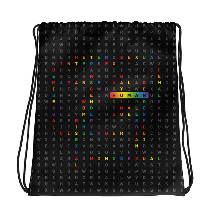 Drawstring bag with the art human LGBTQ ally crossword by varanda design