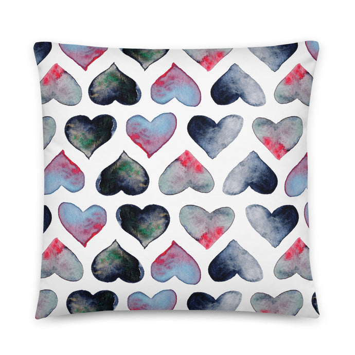 Watercolor hearts pillow by Varanda Design - size 22x22(in)