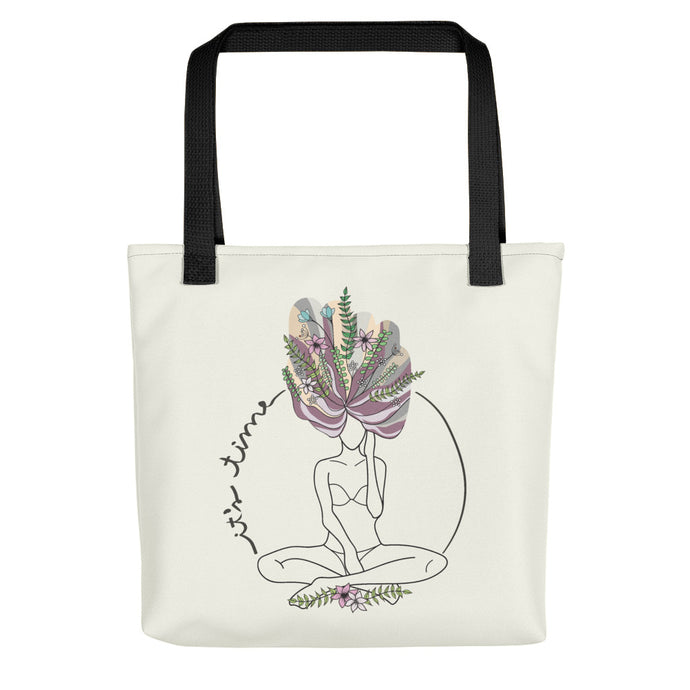 Tote bag with the feminist art It's time by Varanda Design -Front view