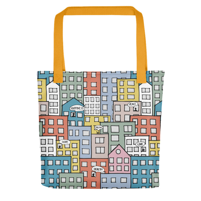 Tote bag one city many wishes by Varanda Design - yellow straps