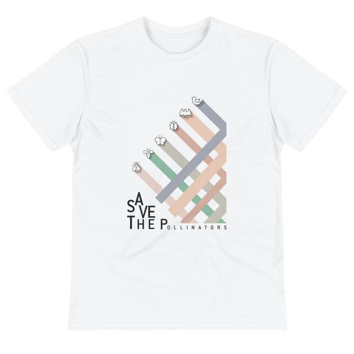 Pollinators stripes men's eco t-shirt - VARANDA DESIGN