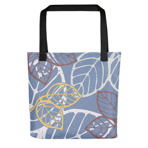 Tote bag new leaves by Varanda Design black, front view