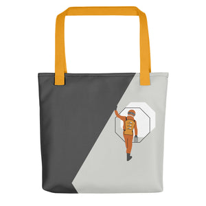 Tote bag yellow streps with astronaut steps art by VARANDA DESIGN