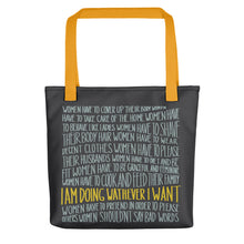 Load image into Gallery viewer, Tote bag women's empowerment message by Varanda - yellow handle
