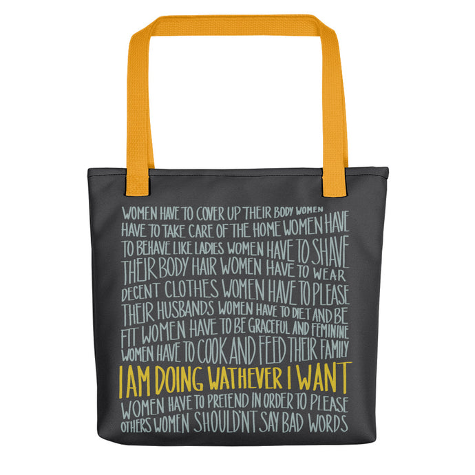 Tote bag women's empowerment message by Varanda - yellow handle