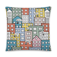 Load image into Gallery viewer, Pillow wishes in the city by Varanda Design -22x22(In) back