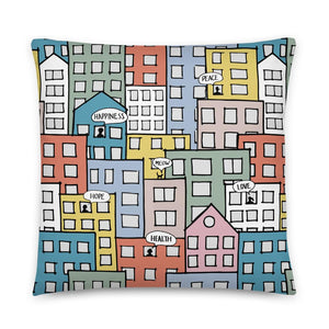 Pillow wishes in the city by Varanda Design -22x22(In) back