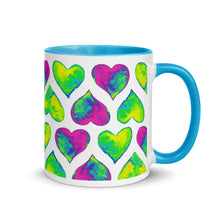 Load image into Gallery viewer, Mug Psychedelic hearts by Varanda Design - color blue
