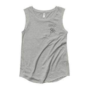 Right chest detail art  displying a minimalist bee saying thank you - gray ladies' cap sleeve t-shirt at varanda.store