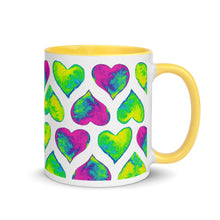 Load image into Gallery viewer, Mug Psychedelic hearts by Varanda Design - color yellow