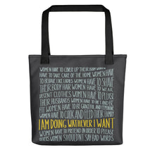 Load image into Gallery viewer, Tote bag women's empowerment message by Varanda - black handle