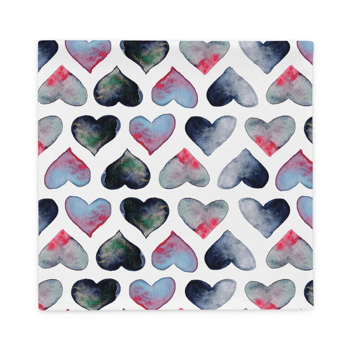 Pillowcase watercolor hearts by Varanda Design size 22x22(in)