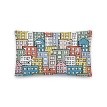 Load image into Gallery viewer, Pillow wishes in the city by Varanda Design -20x12(In) back