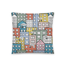 Load image into Gallery viewer, Pillow wishes in the city by Varanda Design -18x18(In) back