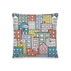 Pillow wishes in the city by Varanda Design -18x18(In) back