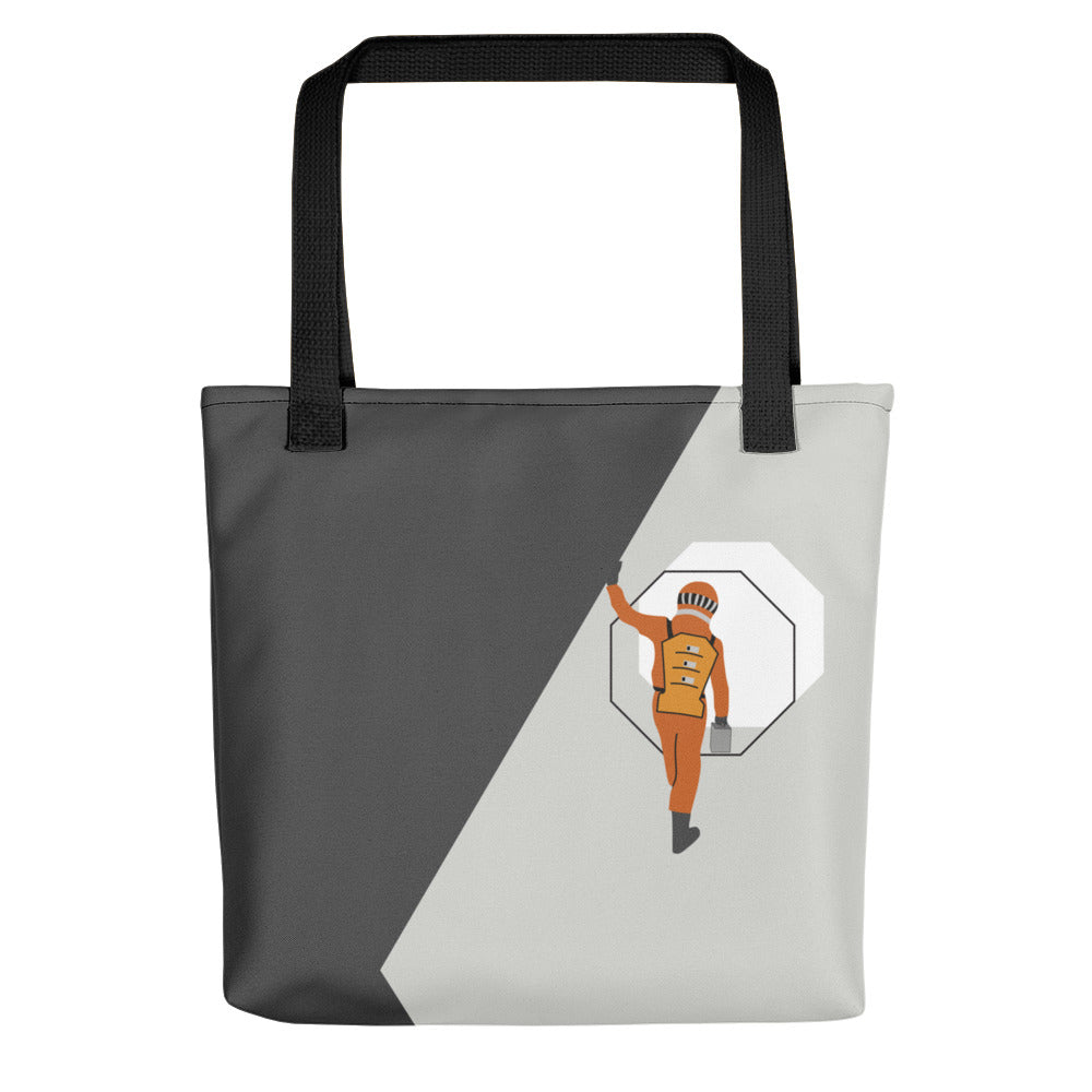Tote bag black streps with astronaut steps art by VARANDA DESIGN