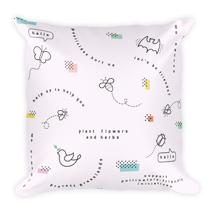 Pollinators pattern pillow - VARANDA DESIGN