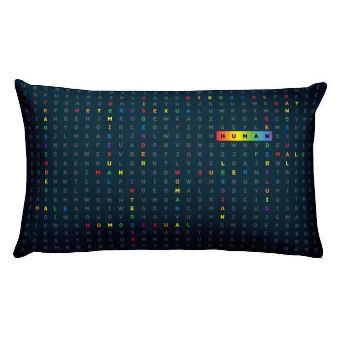 Rectangular pillow with the art human LGBTQ ally by Varanda Design