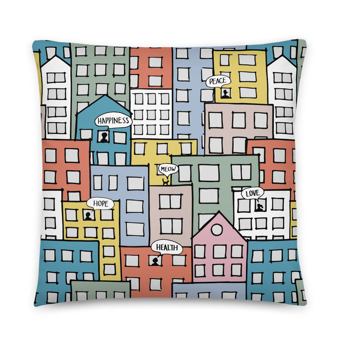 Pillow wishes in the city by Varanda Design -22x22(In) front
