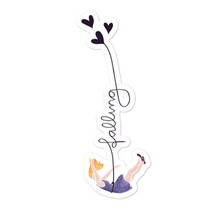 Lady falling in love stickers by Varanda Design size 5.5x5.5in