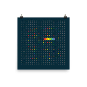 Human LGBTQ ally art by Varanda design - colored square poster